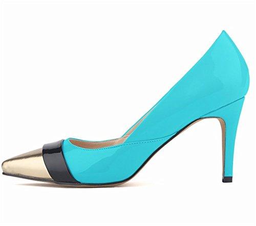 Wealsex Escarpins Vernis Couleurs Mélangées Bout Or Bout Pointu Talon Moyen Aiguille Chaussure de Soirée Mariage Mode Talon 8 Cm Femme bleu clair