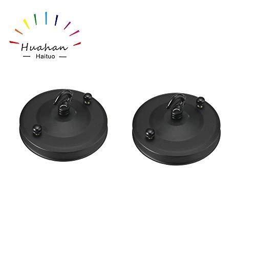 Decke Rose Hook Plate für Leuchte Kronleuchter 100mm Dia schwarz 2PC - Flex Extension Kit