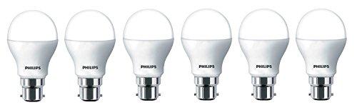 Philips Base B22 9-Watt LED Bulb (Pack of 6, White) (Small)