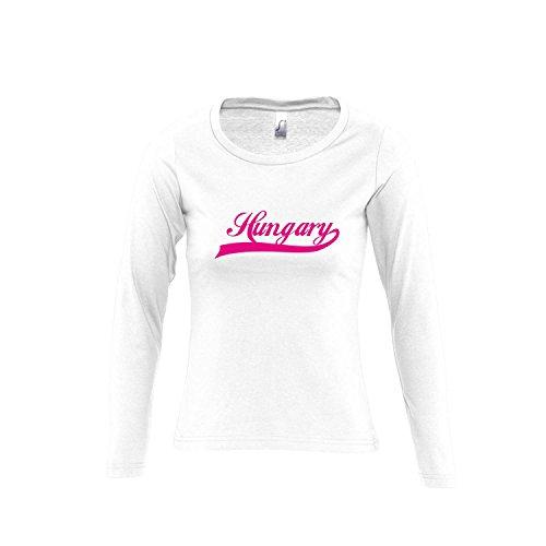 Hungary Oldschool Ungarn LÄNDERSHIRT EM / WM FAN Trikot - Damen Langarm Longsleeve T-Shirt S-XL , White - pink , L