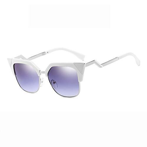 DX Cat Eye Persönlichkeit Retro-Mode Fahren Einkaufen Outdoor-Sportarten UV-Schutzbrille Polarisierte Sonnenbrille (Farbe: Weißer Rahmen graue Linse)