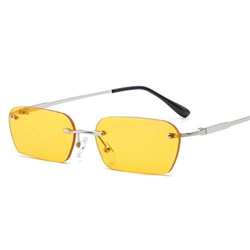 Jeewly Klassische Sportsonnenbrille, Rimless Sunglasses Women Cat Eye Men Vintage Square Small Sunglass Black Yellow