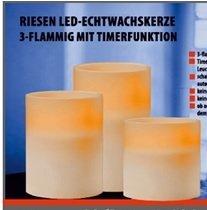 Fortuna Vela LED de cera (20x H15cm con 3ledes, funciona con pilas Champán temporizador.
