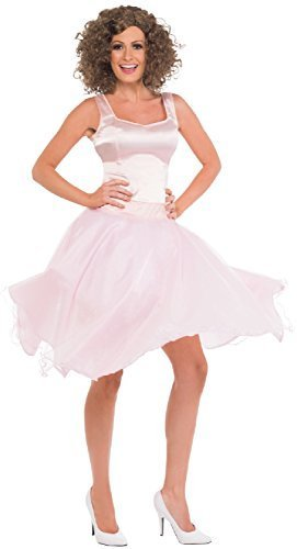 (Damen 80's 1980's Dirty Dancing Finale Baby Tänzer Film Henne Do Abend Party Kostüm Kleid Outfit + Perücke - Rosa, UK 12-14)