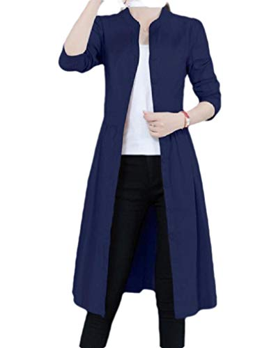 Navy Blue Trench Coat (CuteRose Women Mid Long Lace Up uckle Wrap Coat Weekend Jacket Trench Coat Navy Blue XS)
