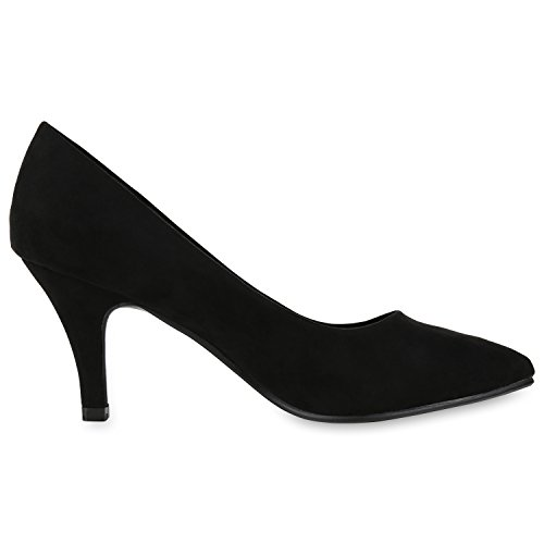 Napoli-fashion Scarpe Da Donna Pumps Party Tacchi Alti Metallici Stiletti Jennika Nero Velour