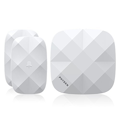 Physen Diamond Wireless Doorbell Kit Features 2 Waterproof Doorbell Buttons and 1 Doorbell Chime,Ring Doorbell with 52 Melodies and 500 Feet Operation Rang(White) by Physen (Wireless Diamond)