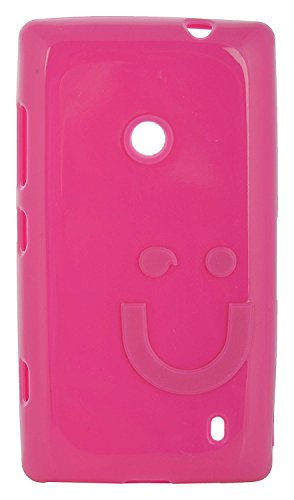 iCandy™ Imported Quality Soft TPU Smiley Back Cover for Nokia Lumia 520 / Nokia Lumia 525 - Raspberry
