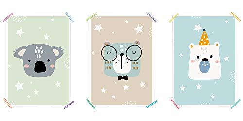 myprinti® 3er Set Kinderzimmer Poster Babyzimmer Bilder | Junge Mädchen Baby | Wanddeko Bildergalerie Deko | Größe DIN A3 | Koala, Bär, Eisbär, Teddybär, Party, Hut