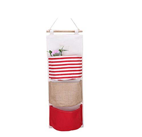 Haludock Cotton Linen wasserdicht Farbige Wand-Stoff-Aufbewahrungstasche Hanging Organizer Mit 3 Taschen-Typ A - Wand-heizung Deckt