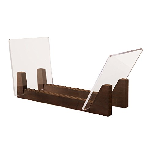 Kaiu Schallplatten-Ständer aus massivem Holz mit kristallklarem Acryl, für bis zu 50 Platten, von 17,8 cm bis 30,5 cm  walnuss (Gerillte Holz)
