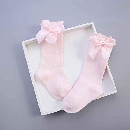 Hykis - Baby Socken Knee High Mit Bögen Prinzessin Socken Girl Cute Baby-Socken langen Schlauch Kind-Kind-Booties vertikal gestreifter tragen 0-4Y [2-4 Jahre pink]