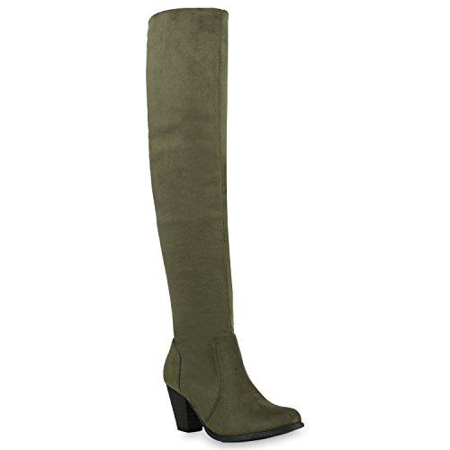 Gefütterte Damen Overknees Lederoptik Stiefel Winter Schuhe Dunkelgrün