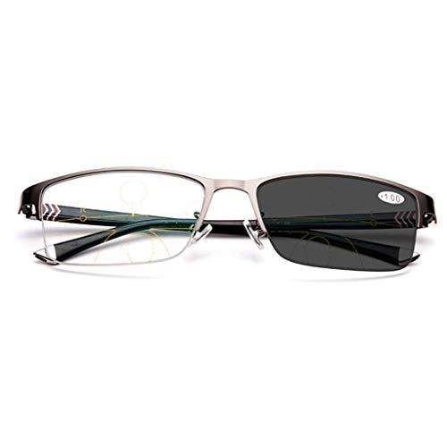 HQMGLASSES Herren Progressive Multi-Fokus-Lesebrille, Outdoor-photochrome Sonnenbrille Federscharnier Memory-Metall-Material in der Nähe und weit Dual-Use-Lupe + 1.0 bis +3.0,Gray,+1.5