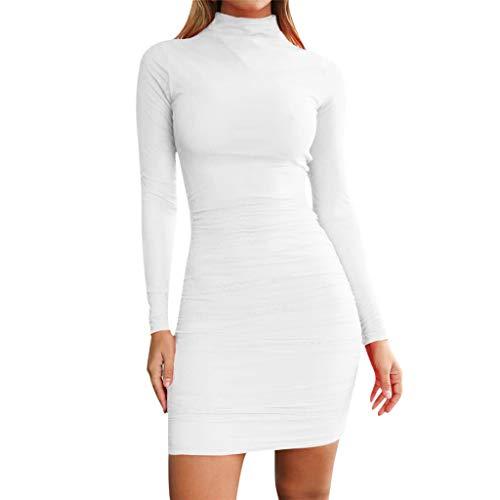 Kostüm Rockabilly Einfach - Beikoard Damen Bodycon Kleider Partykleid Schlank Dünnes Minikleid Rollkragen Lässig Club Kleid Elegante Kleid