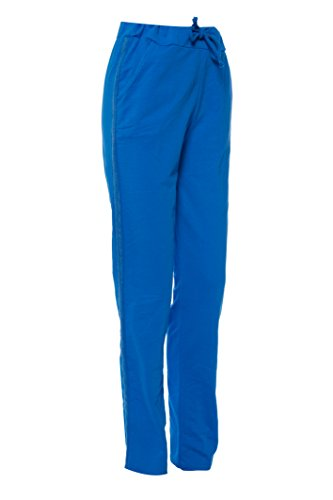 Dress Sheek Damen Gemustert Casual Straight luftig Freizeit Baumwolle Hose Streifen - Blau