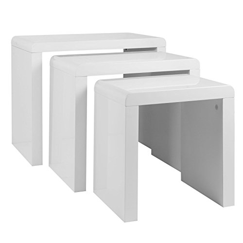 High Gloss White Coffee Table Amazon Co Uk Kitchen Home: Schindora® High Gloss Nest Of Coffee Table Side Table