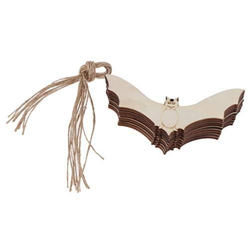 non-brand Sharplace 10x Holzscheiben Holzstücke Geschenkanhänger Etiketten Ornament, Aushöhlen Halloween Stil Figur - Fledermaus