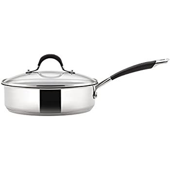 Circulon Momentum (Stainless Steel, Non-Stick) 24cm Saute pan with Tempered Glass Lid and Helper Handle, Silver (Induction and Gas Compatible )
