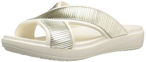 crocs Damen Sloane Embellished Xstrap Sandalen Flipflops, Weiß Weiß