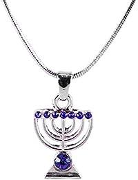Collar Azul MENORÁ Israel judía Kabbalah Judaica Joyería Plata
