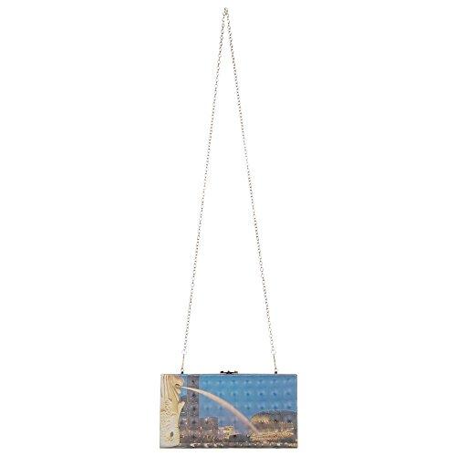 iTal-dEsiGn Damentasche Kleine Clutch Abendtasche Synthetik TA-3260-11 Blau Multi