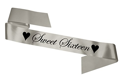Sechzehn Geburtstag Schärpe Sweet Sixteen Birthday 16th Birthday Party Gift Silber SB1002
