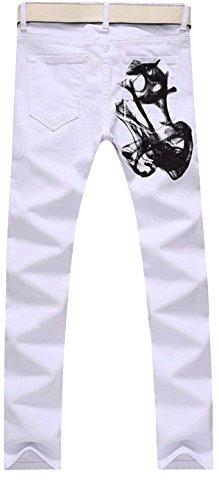 jeansian Herren Entwickelt Gerade Geschnittene White Jeans MJB058 White