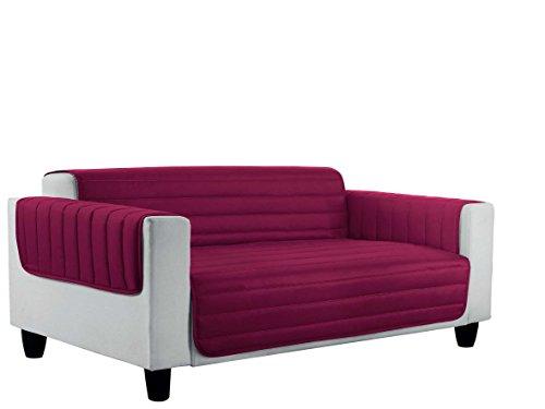 Italian bed linen elegant copri divano trapuntato in microfibra anallergica, doubleface, bordeaux/grigio scuro, matrimoniale, 2 posti