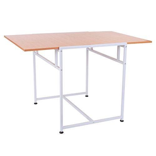 Homcom Klapptisch Schreibtisch Esstisch 2 in 1 Verstellbare Füße Spanplatte Buche 120 x 80 x 75cm