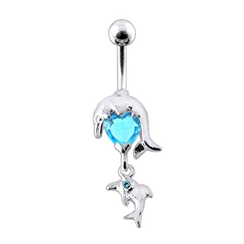 Blue Crystal Stein Delphin Design Sterling Silber Bauch Lichtleisten Piercing