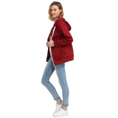 Hannea Casual Hooded Long Sleeve Zipper Type Hoodie for Ladies