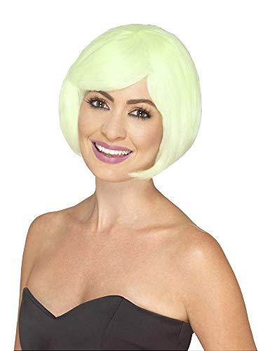 shoperama Fluoreszierende Damen Perücke Bob Pagenkopf Disco Queen Showgirl Frisur Leuchtend glatt kurz Kostüm-Zubehör (Go Go Girl Halloween-kostüm)