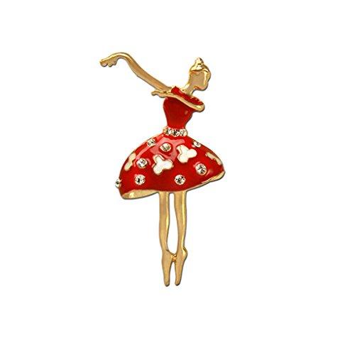 QHGstore Rhinestone kleine Tanzen Mädchen Brosche Frauen Kleid Ballett Mädchen Schal Brosche Stifte Gold + Rot (Tanzen Brosche)