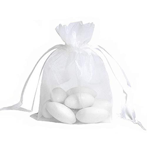 JZK® 50 x Klein weiß Organza Saeckchen Süßigkeiten Beutel Geschenk Schmuckbeutel Gastgeschenk Bags mit Drawstring, für Hochzeit Geburtstag Taufe Party Babyparty Baby Shower, 12 x 9cm