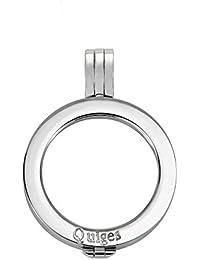 Quiges Versilberter Edelstahl Auswechselbarer Münzhalter Coin Anhänger 25mm Small