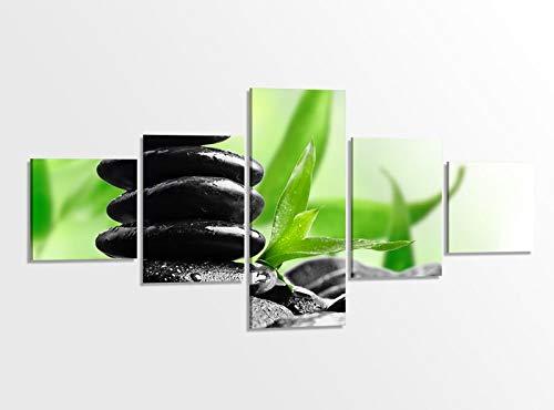Leinwandbild 5 tlg. 200cmx100cm Wellness Spa Feng Shui Steine Orchidee Bilder Druck auf Leinwand Bild Kunstdruck mehrteilig Holz fertig gerahmt 9AB127