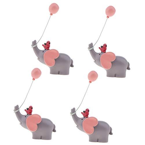 FLAMEER 4pcs Elefant Kuchendeckel Kuchenaufsatz Tortendekoration Tortenaufsatz für Baby Geschlechte Party - Rosa