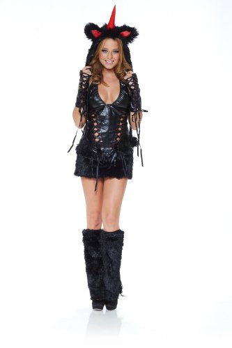 Schwarzes Einhorn Kostüm (Sexy Kostüm EINHORN SCHWARZ Gr.)