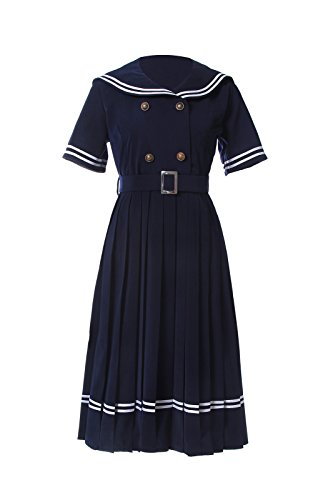 NSPSTT Damen Navy Sailor Vintage Kurzarm Swing Ballkleid -