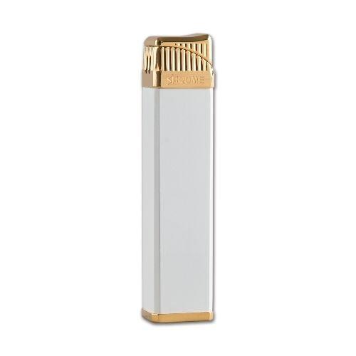 Feuerzeug Sarome SK 164 aus Metall beschichtet in weiss matt gold glänzend