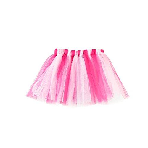 QinMM Falda Niña Chicas Enaguas Arco Iris Tutú Vistoso Vestir Ropa de Baile Costume (H)