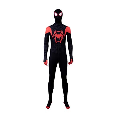 Mann Custom Kostüm Spider - QWEASZER Miles Morales In Spider Verse Cosplay Kostüm Spider-Man Strumpfhosen Overall Ganzkörperanzug mit Maske Set für Halloween, Weihnachten, Party,Black Spiderman-Custom Size