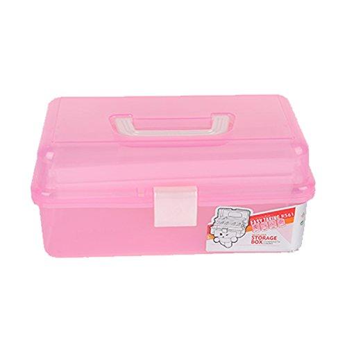 ExcLent Clear Plastic Craft Makeup Organizer Schmuck Storage Fach Tools Box Case-Pink