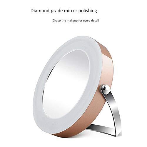 KEMIN Mini Makeup Mirror Round Led Lighting Makeup Mirror Magnifying Makeup Eye Care Fine Mirror -