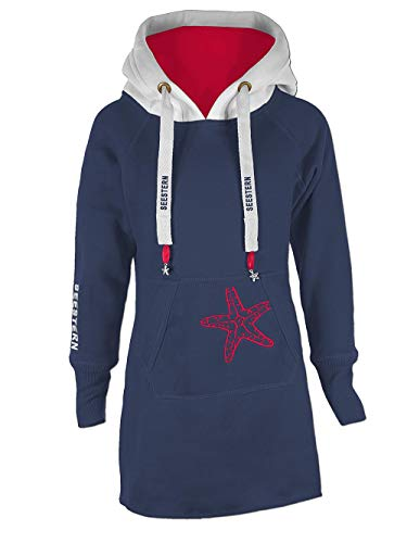 SEESTERN Kinder Langes Kapuzen Sweat Shirt Pullover Hoody Sweater Gr.116-164/1505.NV_WT_rd Navy 140