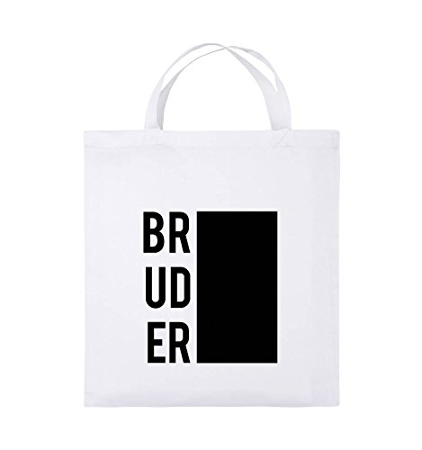 Comedy Bags - BRUDER BLOCK - Jutebeutel - kurze Henkel - 38x42cm - Farbe: Weiss / Schwarz (Sweatshirt Block Hoody)