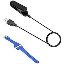 MagiDeal Clip de Datos Cable de Carga USB Cuna para V800 Reloj Inteligente Polar Energía de Cargador con Correa de Repuesto de Silicona Banda Reloj de Pulsera Polar FT7 FT4 FT Reloj Azul