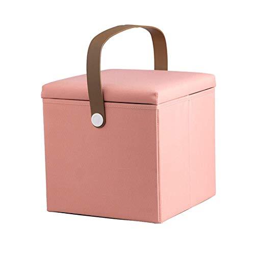 QQXX Klappbarer Hocker Aufbewahrungsbox Fußstützenwürfel mit abnehmbarem Deckel, Fibre Klapphocker, 100kg Tragkraft (30x30x30cm) Pink