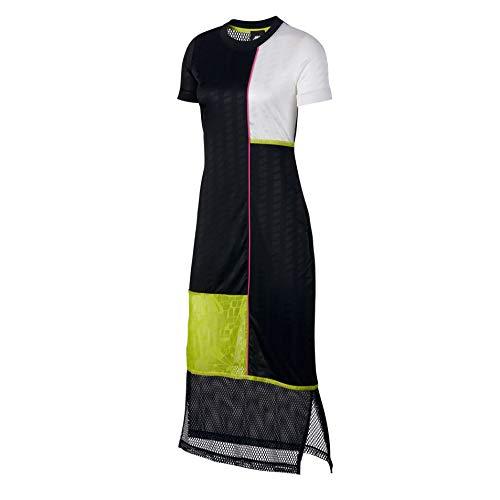 Nike Damen Dress Short-Sleeve Kleid, Black/White, S (Black-panel-kleid White-und)